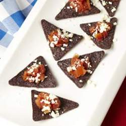 red, white, and blue corn chip bites